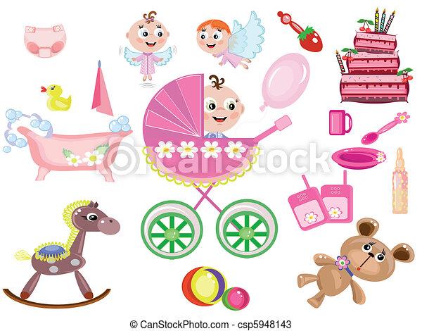 Baby girl ,icons - csp5948143