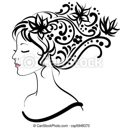 spring floral girl - csp5948370