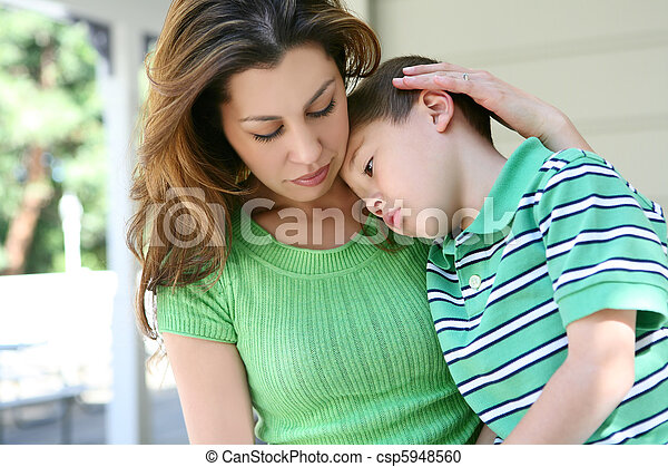 Tired boy at Home with Mother - csp5948560