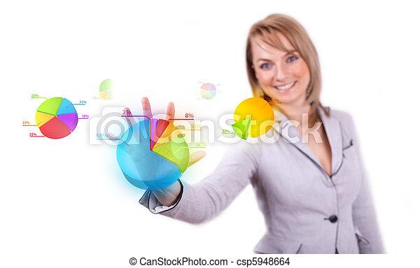 Businesswoman hand pressing pie chart button - csp5948664