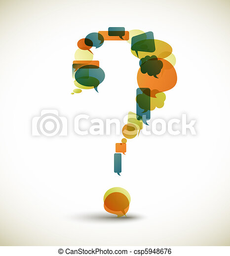 Question mark made from speech bubbles - csp5948676