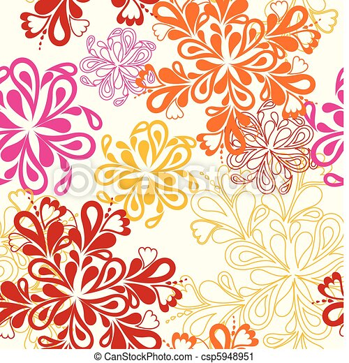 Flower Pattern seamless. Vector on white over - csp5948951