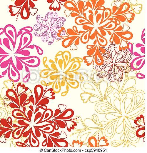 Flower Pattern seamless. Vector on white over - csp5948951