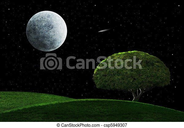 Moonlight Night With Solitary Tree - csp5949307