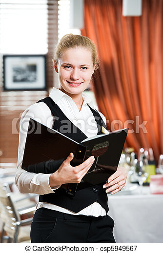 restaurant manager woman at work place - csp5949567