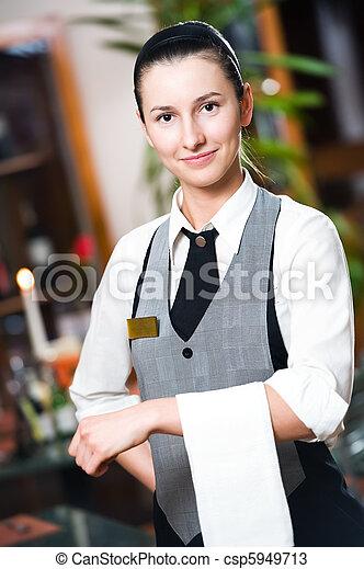 Waitress girl of commercial restaurant  - csp5949713