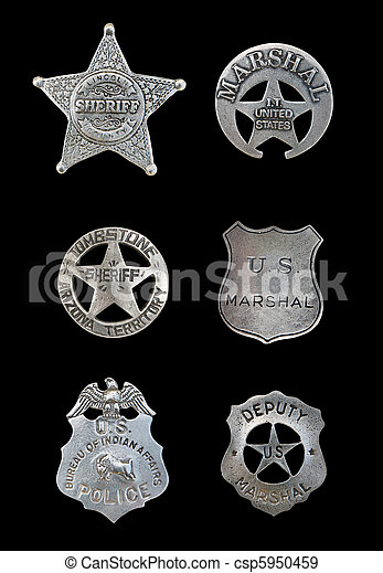 Several Police and Sheriff Badges - csp5950459