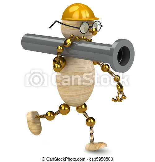 3d wood man carring a pipe - csp5950800
