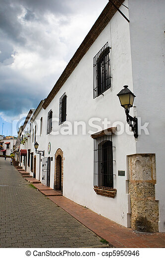 Street with white house in Santo Domingo - csp5950946