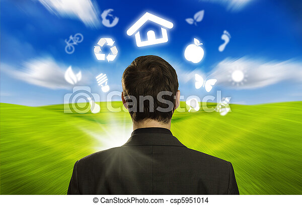 businessman with ECO icons floating around his head - csp5951014