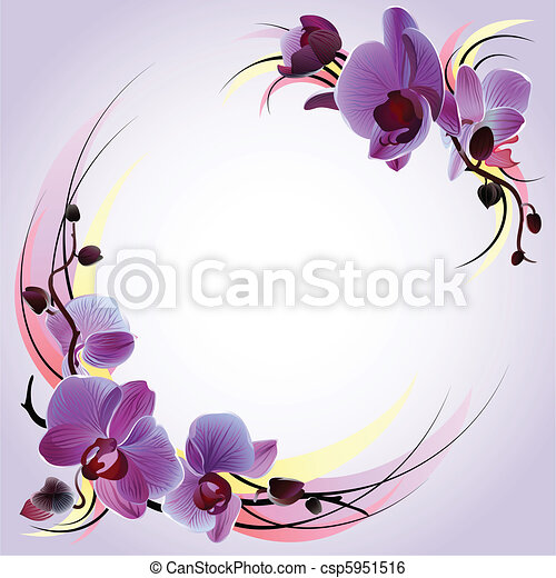 Greeting card with violet orchids - csp5951516