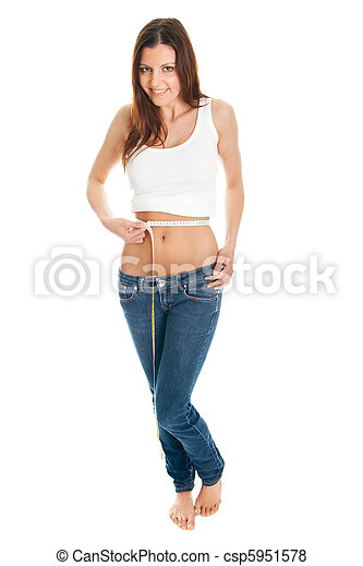 Beautiful woman measuring waist - csp5951578
