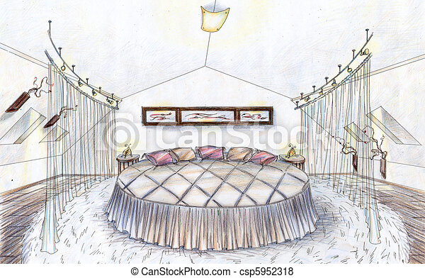 Illustration main dessin croquis chambre coucher - Croquis chambre a coucher ...