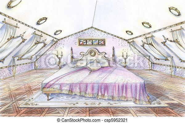 Illustration croquis classique style chambre - Croquis chambre a coucher ...