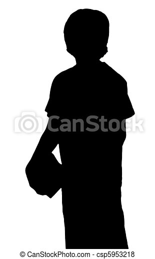 silhouette of a young adolescent boy carrying books - csp5953218