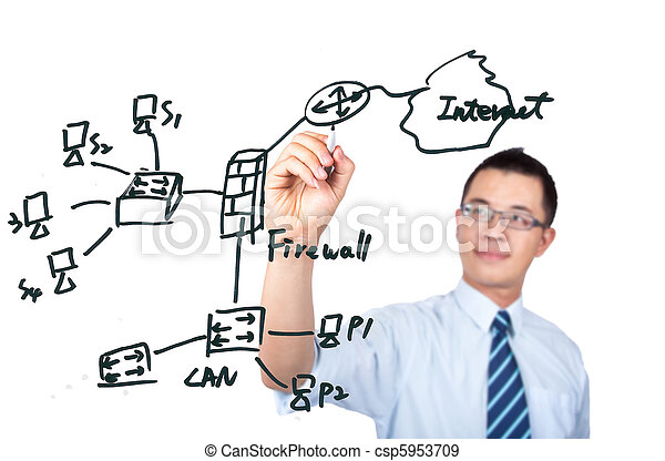 young computer Engineer drawing a  - csp5953709