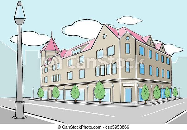 Urban Street Drawings Urban Building Csp5953866