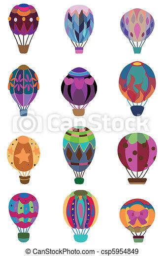 cartoon hot air balloon icon  - csp5954849