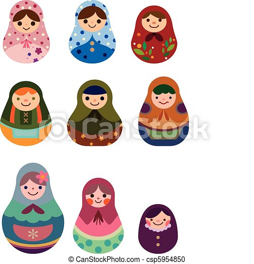 Vecteur - dessin animé, russe, poupées - banque d'illustrations