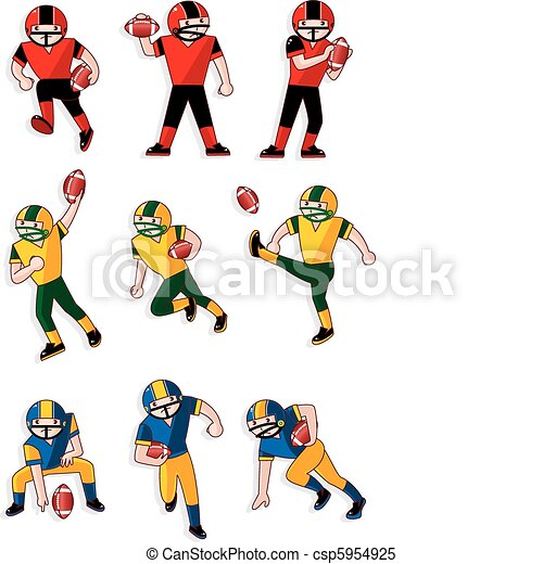 Clipart Vector of cartoon football player icon - cartoon football ...