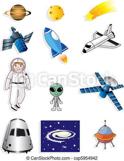 cartoon space icon  - csp5954942