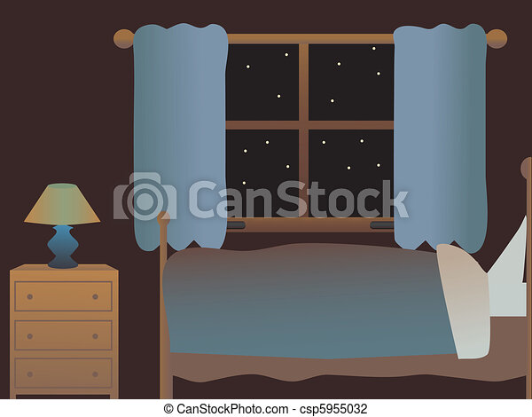 Empty Bedroom at night - csp5955032