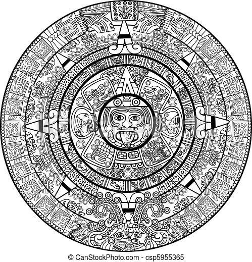 Clipart Vector of Vector Maya calendar - over white csp5955365 ...