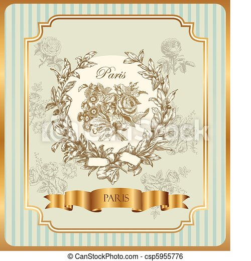 label with wreath and roses - csp5955776