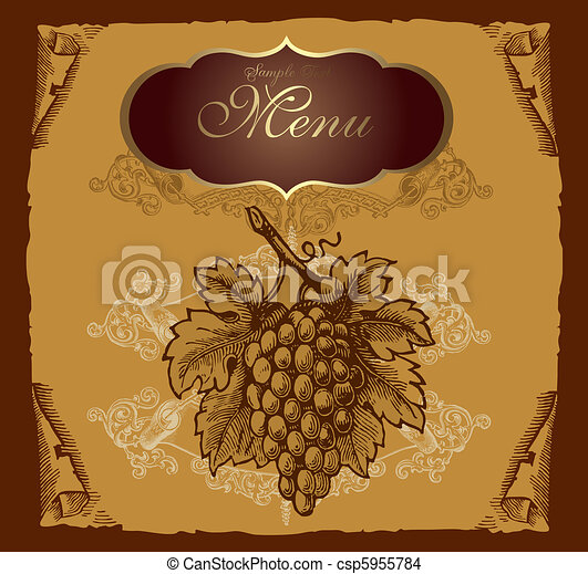 Label with grape - csp5955784