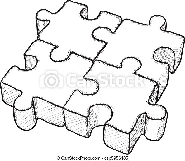 Shaped vector drawing - puzzle - csp5956485