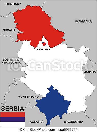 zeichnung von landkarte serbien politisch landkarte von serbien csp5956754 suchen. Black Bedroom Furniture Sets. Home Design Ideas