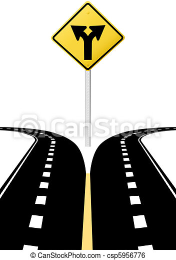 Decision choice future direction arrows road sign - csp5956776