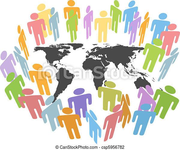 Global human population Earth issues people map - csp5956782