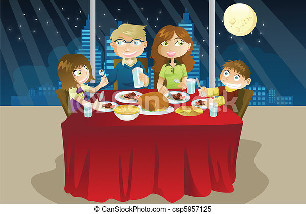 Clipart Vector Of Family Eating Dinner