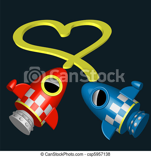 Little red and blue rocket ships - csp5957138