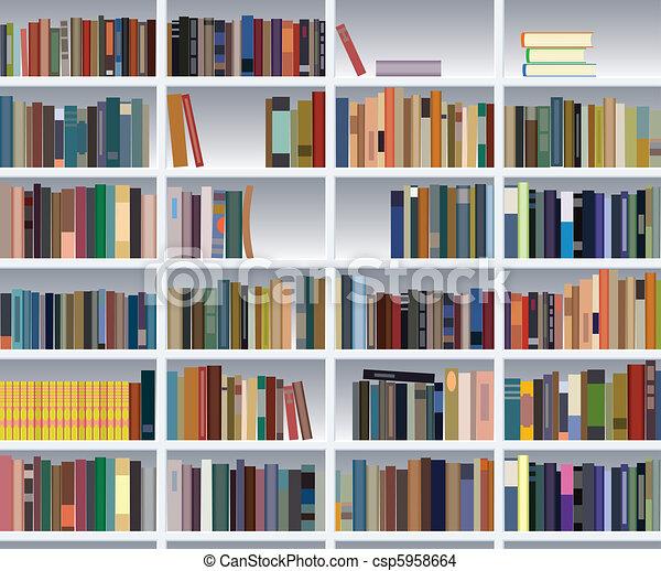 vector modern bookshelf - csp5958664