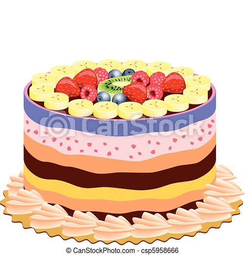 Delicious Cake Clipart : Clip Art Vector of vector delicious cake with fruits ...