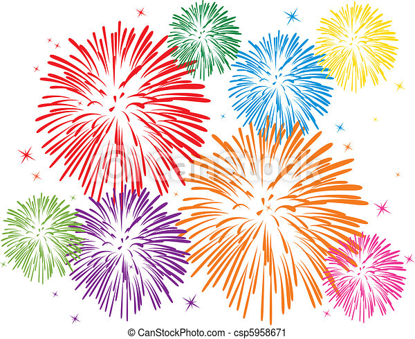 colorful fireworks - csp5958671