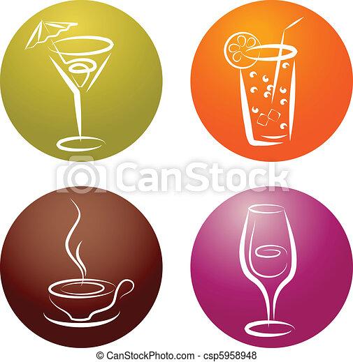 four different beverage icon logos - csp5958948