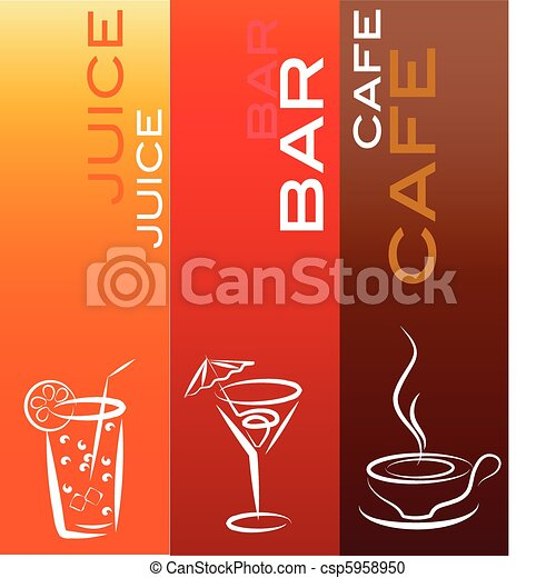 beverage icons with coffe, bar and juice ; design template - csp5958950