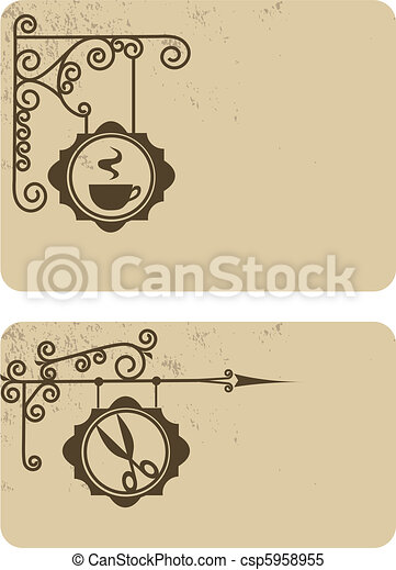Ancient street signboard hairdresser's and coffee house, vector illustration - csp5958955