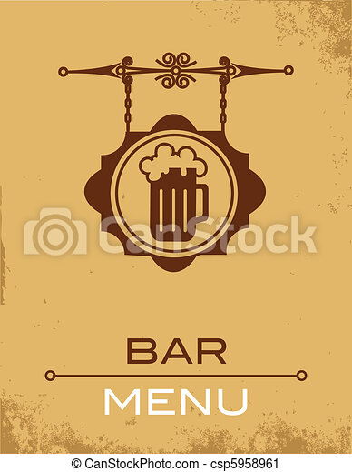 Ancient street signboard of beer house or bar - csp5958961