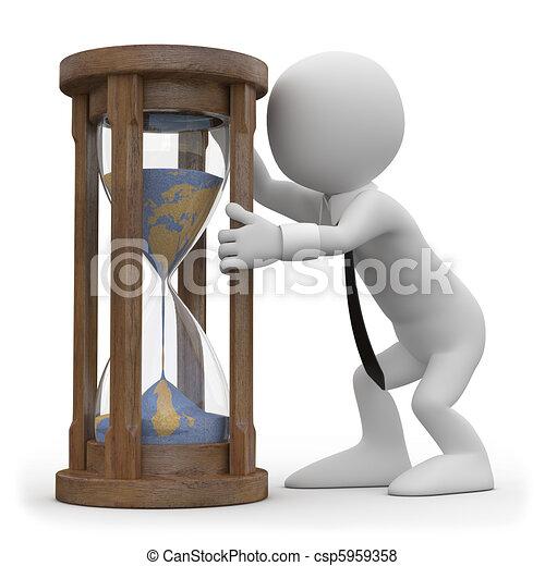 A man watching an hourglass - csp5959358