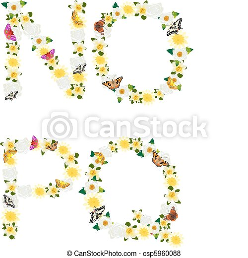 Alphabet of flowers and butterflies - csp5960088
