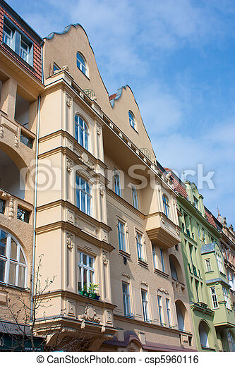 Facades of buildings in Czech Republic, typical architecture of Esat Europe - csp5960116