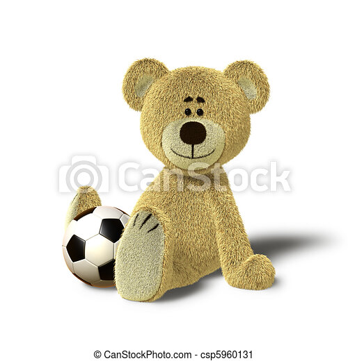 Teddy Bear sits on floor with Ball - csp5960131