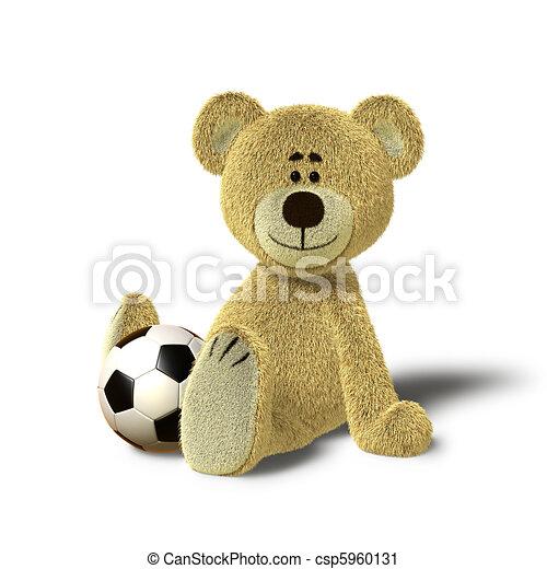 Teddy Bear sits on floor with Ball - csp5960131
