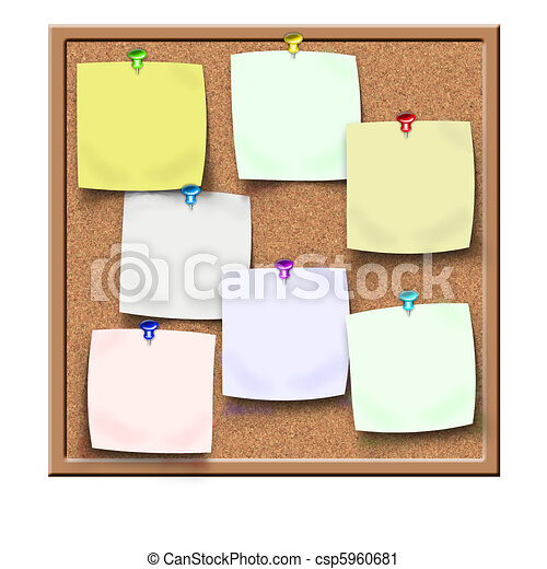 cork notice board with blank sticke - csp5960681