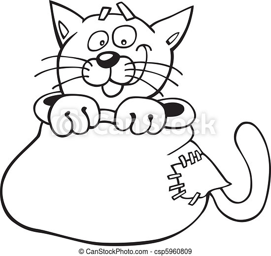 Cat in sack for coloring book - csp5960809