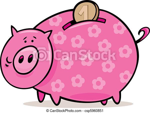 Piggy bank with coin - csp5960851